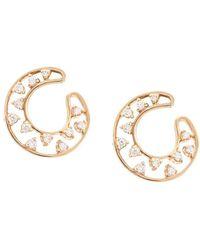 Dana Rebecca 14kt Rose Gold Small Diamond Front Hoop Earrings - Metallic