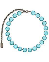 N°21 Collier ras-de-cou à ornements en cristal - Bleu