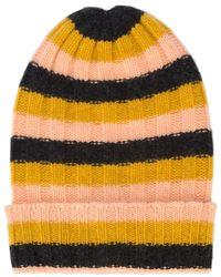 The Elder Statesman Striped Ribbed Beanie - Yellow