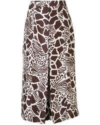 Adam Lippes Culottes con animal print y pliegues - Multicolor