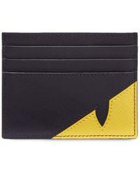 Fendi Porte-cartes en cuir à motif Bag Bugs - Noir