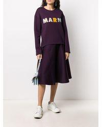 Marni Толстовка С Нашивкой-логотипом - Пурпурный