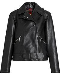 Burberry - Tartan-lined Leather Biker Jacket - Lyst