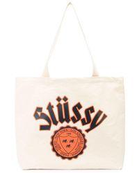 Stussy Logo-print Canvas Tote Bag - White