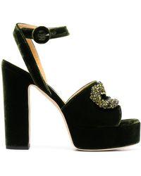 Giannico Embellished Platform Sandals - Green