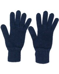 Pringle of Scotland Handschoenen Met Ribbel Details - Blauw