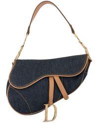 Dior Pre-owned Denim Saddle Shoulder Bag - Blue