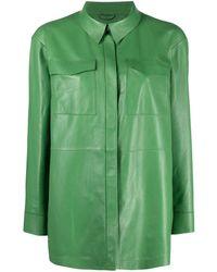 DESA NINETEENSEVENTYTWO Concealed Fastening Leather Shirt - Green