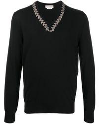 Alexander McQueen Джемпер С V-образным Вырезом И Вышивкой - Черный