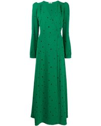 P.A.R.O.S.H. Long V-neck Dress - Green