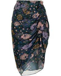 Veronica Beard Ruched Floral-print Skirt - Black