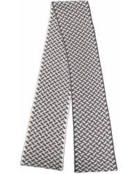 Drumohr Geometric-print Cashmere Scarf - Grey