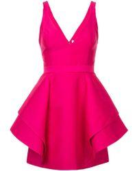 Halston - Short Ruffle Dress - Lyst
