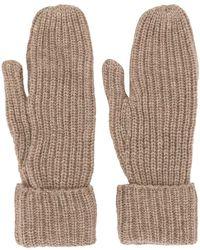 WOOD WOOD Elna Ribbed-knit Gloves - Brown