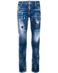 DSquared² Gerafelde Slim Fit Jeans - Blauw