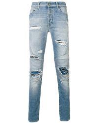 Marcelo Burlon - Distressed Biker Jeans - Lyst