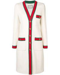Gucci Web Trim Coat - White