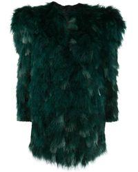 Saint Laurent Oversized-shoulder Feather Jacket - Green