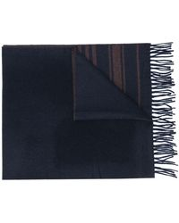 Brunello Cucinelli Striped Cashmere Scarf - Blue
