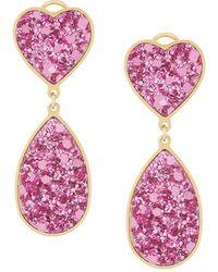 Shourouk Kim Drop Earrings - Pink