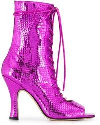 Paris Texas Metallic Lace-up Boots - Pink