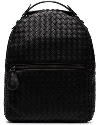 Bottega Veneta - Black Intrecciato Leather Backpack - Lyst