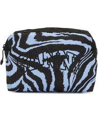 Ganni Zebra Print Logo Make-up Bag - Blue