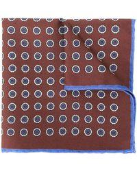 Canali Geometric Print Scarf - Brown
