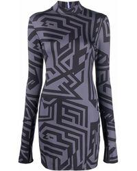 McQ アブストラクトパターン ドレス - ブラック