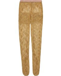 Gucci Metallic Floral Lace Tights