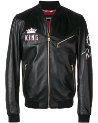 Dolce & Gabbana - King Patch Leather Bomber Jacket - Lyst