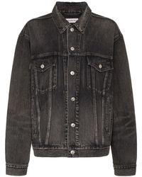 Balenciaga Black Long Sleeve Logo Print Denim Jacket - Zwart