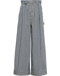Miu Miu ストライプ ワイドジーンズ - ブルー