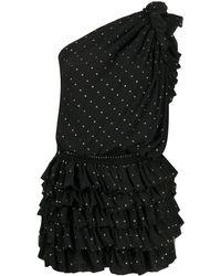 Saint Laurent Платье С Блестками - Черный