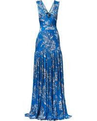 Alexis Draped-neck Cocktail Dres - ブルー