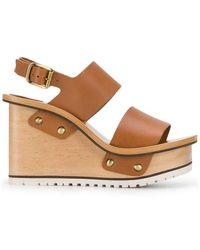 e221befaa87 Chloé - Buckle Wedge Sandals - Lyst