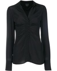 Pinko - Ruched V-neck Blouse - Lyst