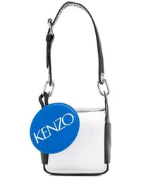 7132a9f047 KENZO Flying Leather Shoulder Bag in White - Lyst