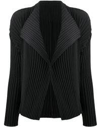Issey Miyake プリーツ ジャケット - ブラック