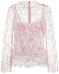 Dolce & Gabbana Glitter Lace Blouse - Pink