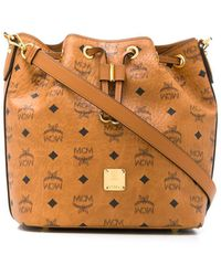 MCM Logo Bucket Bag - Brown