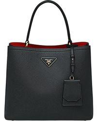 Prada Panier Saffiano Leather Bag - Black
