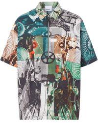 Burberry Overhemd Met Print - Blauw