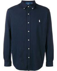 Polo Ralph Lauren Shirt Met Lange Mouwen En Logopatch - Blauw
