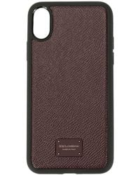 Dolce & Gabbana Dauphine Calfskin Iphone Xr Cover With Branded Plate - Purple