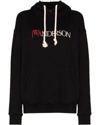 JW Anderson ジャージースウェットフーディ - ブラック