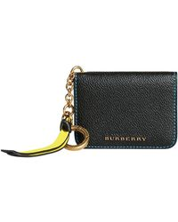 Burberry - Leather And Haymarket Check Id Card Case Charm - Lyst