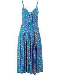 LHD フローラル ドレス - ブルー