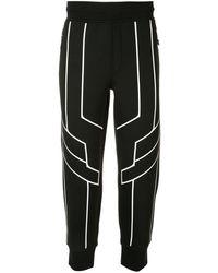Neil Barrett Geometric Trim Track Pants - Black