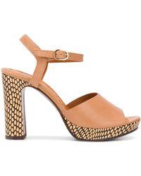 Chie Mihara Cassette Printed Heel Sandals - Brown